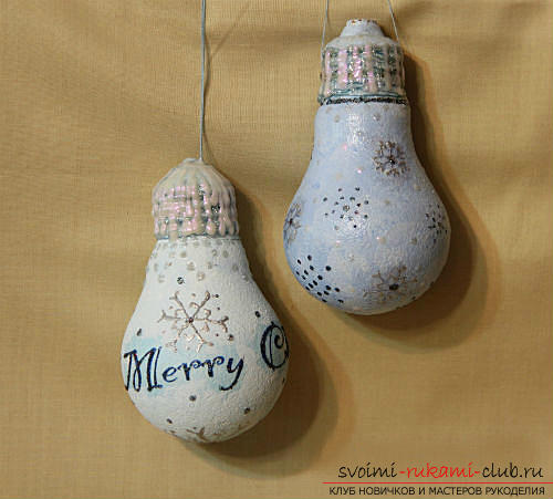 How to make a New Year's toy from a light bulb .. Photo №13