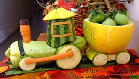 Autumn crafts from vegetables and fruits. Photo Number 11