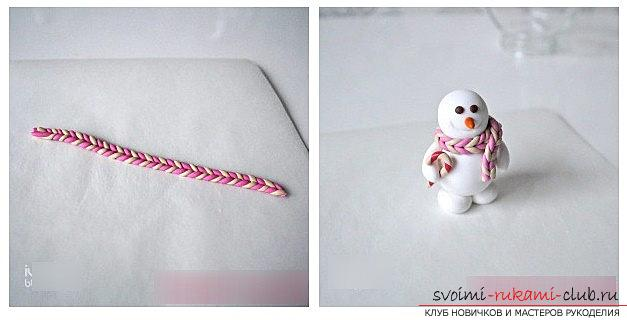 We make a snowman figure from polymer clay - a master class with our own hands. Photo №8