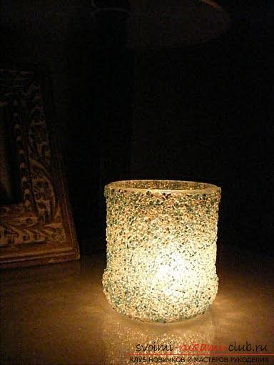 Master classes on decorating and creating candlesticks from beads with photo and description .. Photo # 7