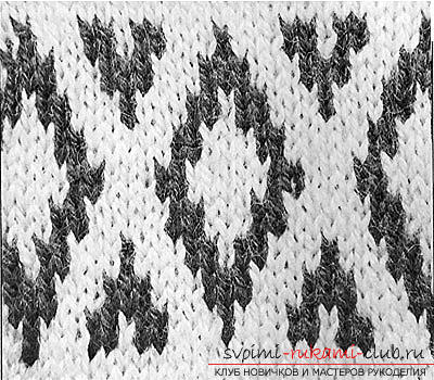 We knit jacquard patterns with knitting needles according to the schemes. Photo №1
