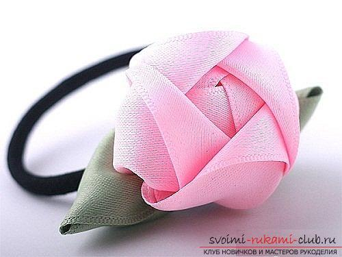 How to make roses from a ribbon with your own hands, step-by-step photos and instructions for creating a flower, seven variants of roses from a ribbon in the form of buds and blossoming flowers. Photo №39