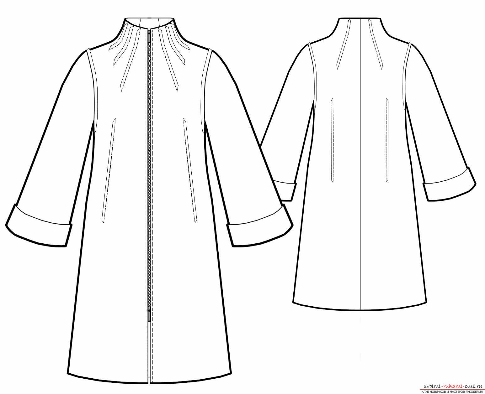 How to carve and sew a coat with a one-piece sleeve. Photo №4