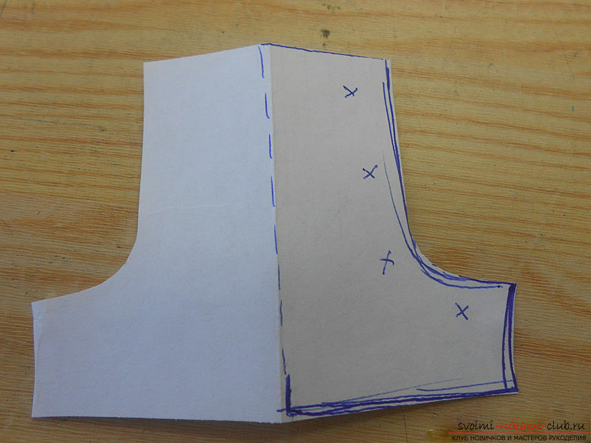 Building a pattern of shoes for the doll and making them .. Photo # 10