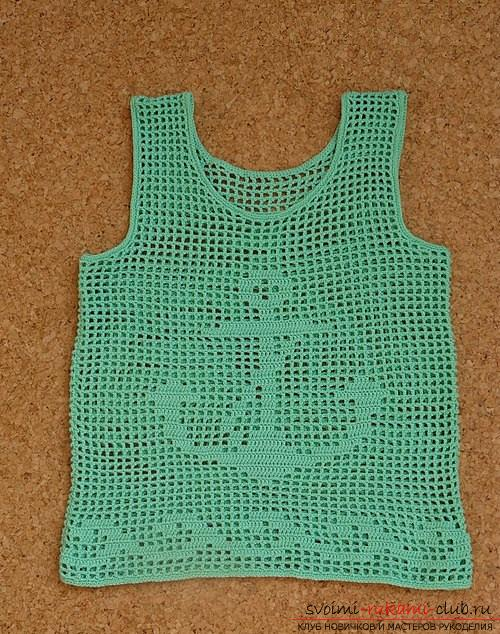 How to crochet a summer T-shirt for children of different ages with diagrams and description .. Photo number 17
