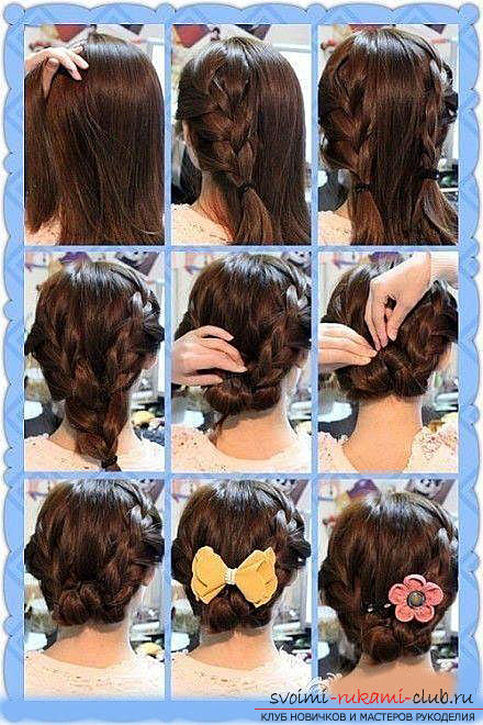 We learn to make beautiful hairstyles on medium hair with our own hands. Photo №7