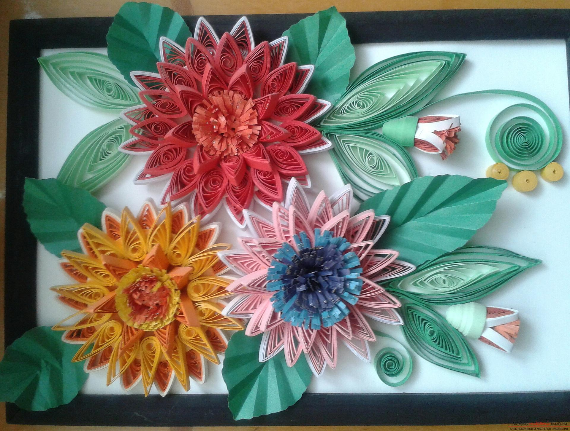 This detailed master-class will acquaint you with quilling technique, teach you how to make quilling flowers and quilling paintings .. Photo №1