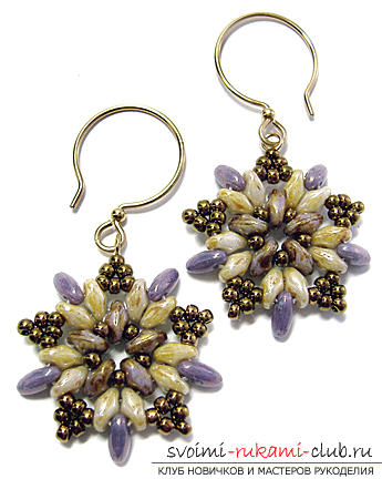 Several master classes on weaving earrings from beads, step-by-step photos and description .. Photo №1