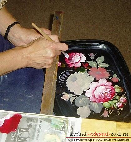 Zhostovo painting for the tray - pictures and flowers with their own hands. Photo №4