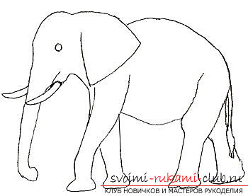 Step by step drawing an elephant in pencil. Photo №5