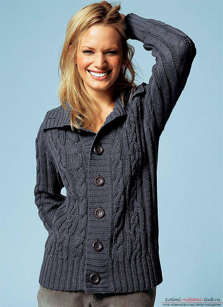 A beautiful women's jacket: we knit knitting needles with a pattern. Picture №10