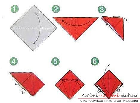 How to make a tulip according to the origami scheme with your own hands - origami for children and adults. Picture №3