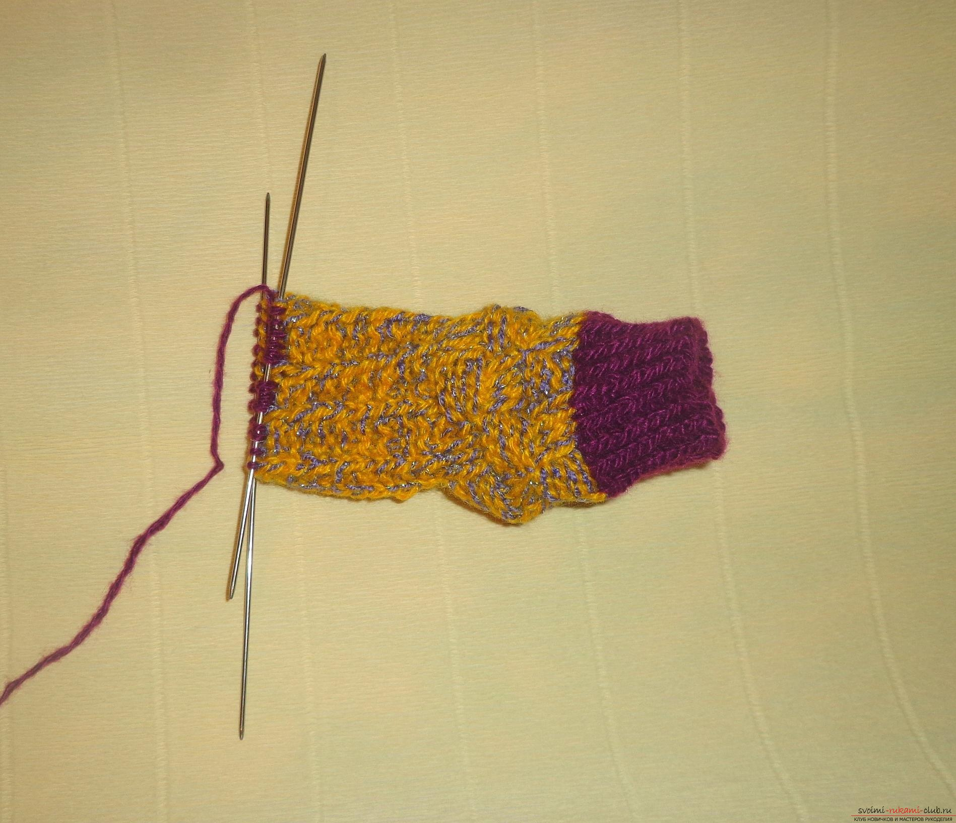 """Photo to the lesson on knitting with knitting needles of children's socks """"Winter"""". Picture №10"""