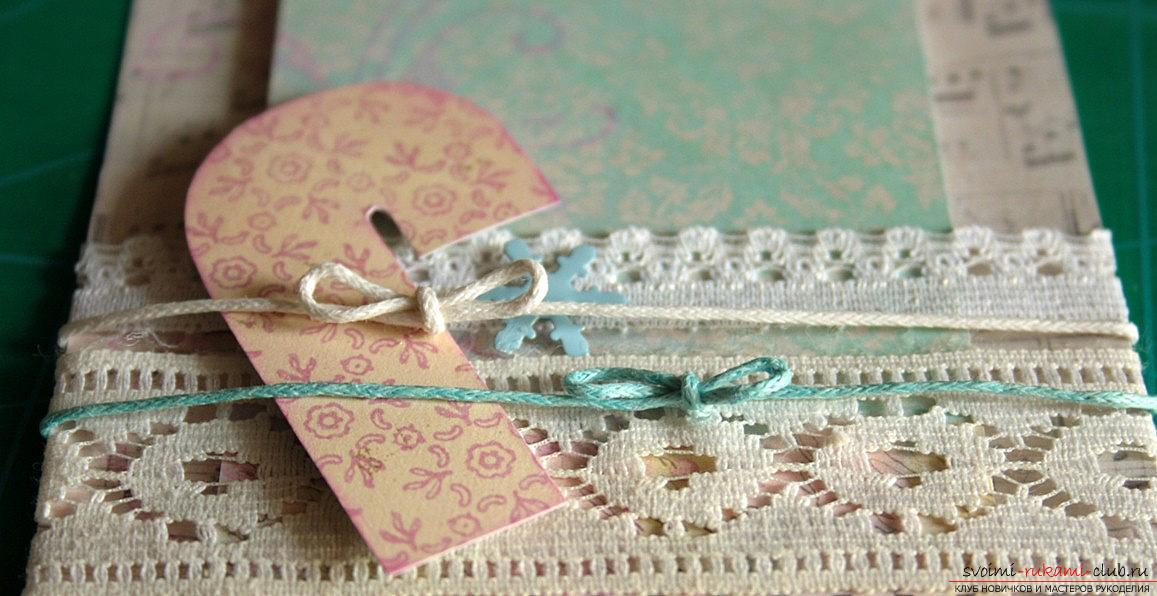 How to make a New Year's card in vintage style with your own hands? Master class and lesson. Photo №5