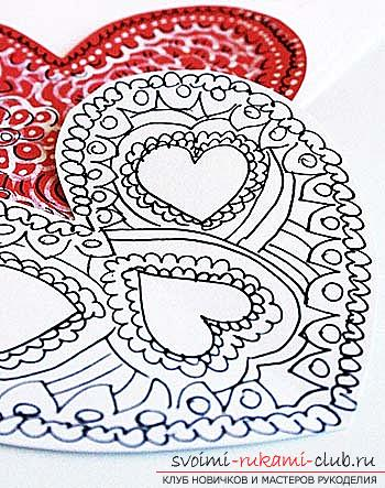 Gifts for Valentine's Day with their own hands, various variations of making Valentine's cards with their own hands, a magnet in the form of a heart as a gift to your beloved .. Photo №4