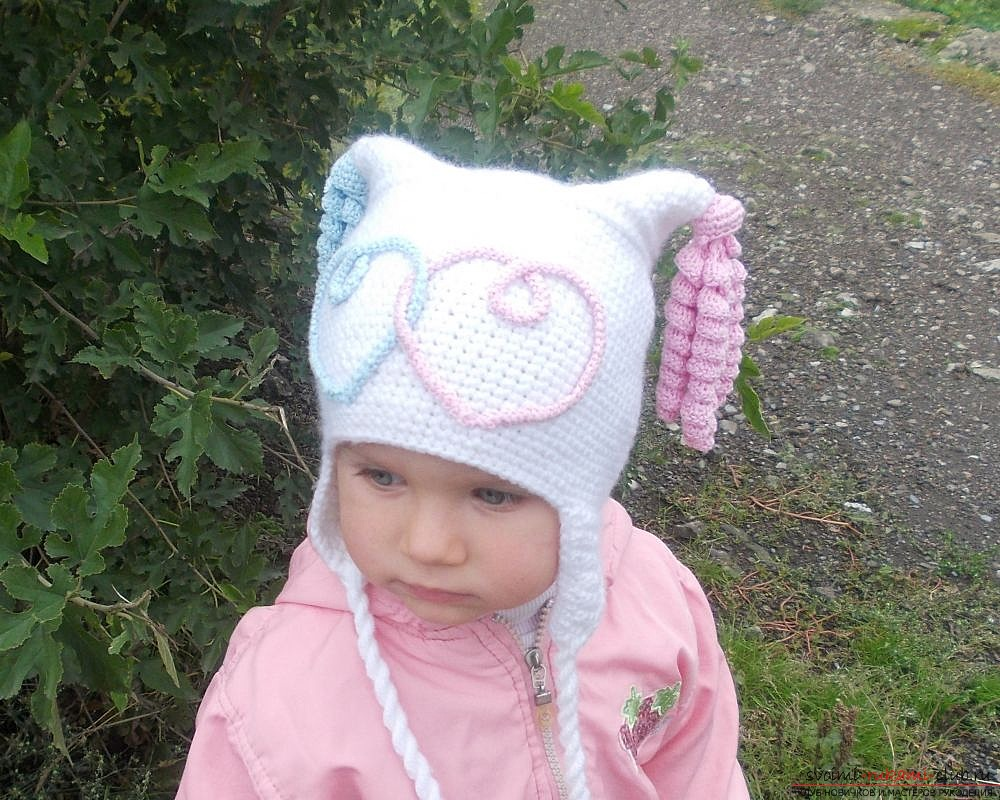 knitted crocheted beanie with ears for the girl. Photo №1