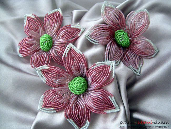 Lessons of weaving a simple flower from beads. Materials and photos for weaving a flower .. Picture №3