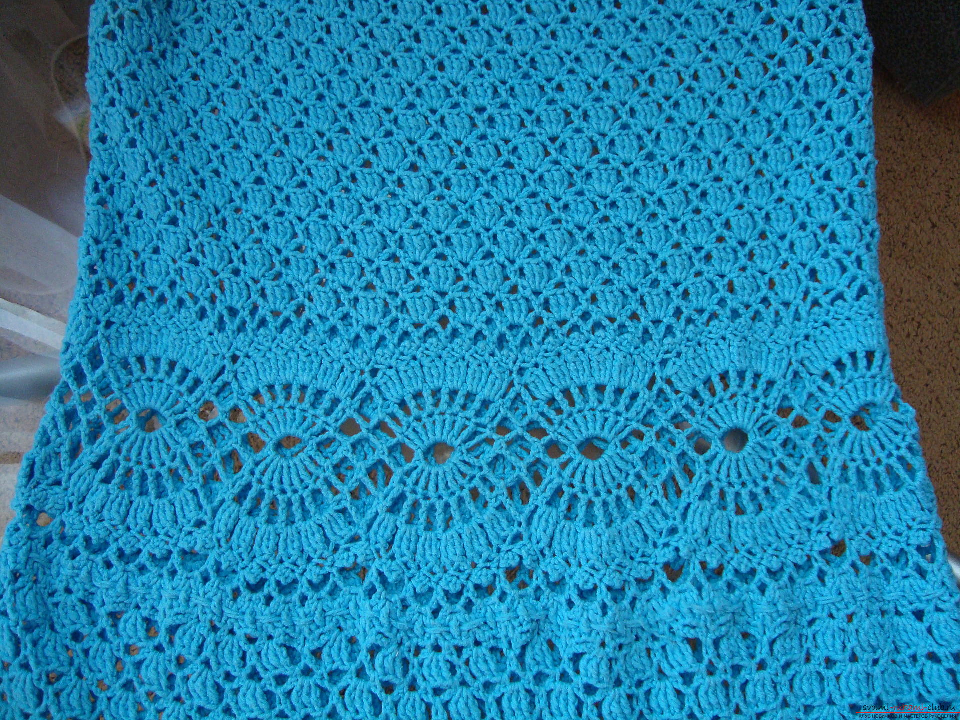 Step-by-step instruction on the binding of a turquoise dress with a crochet. Picture №10