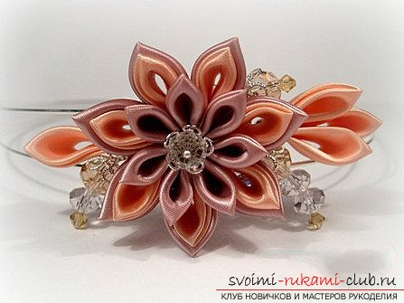 Kanzashi for beginners, master class. Picture №3