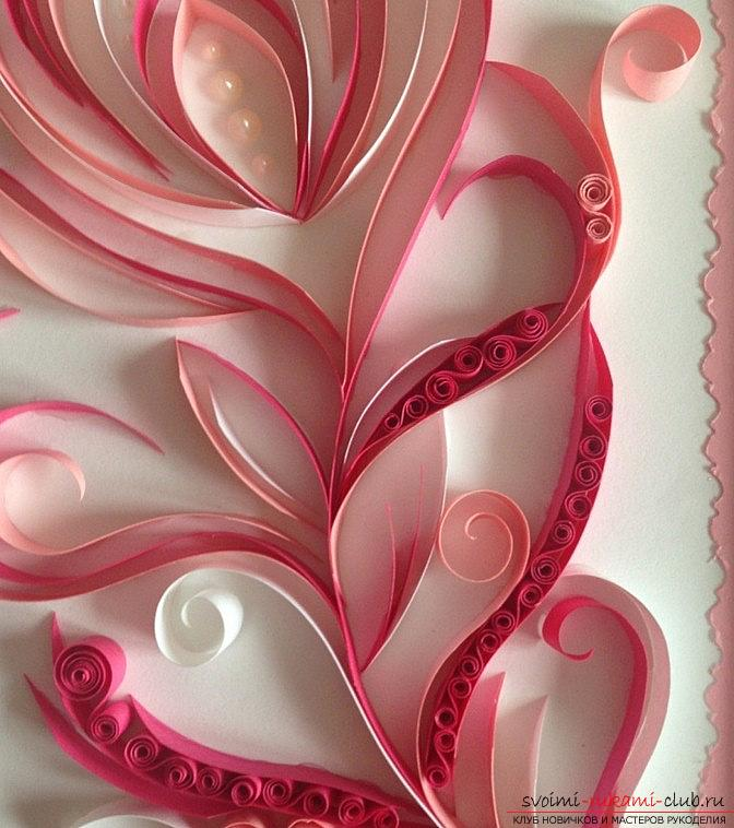 Perot with pearls - quilling pictures with photos and master class. Photo Number 14