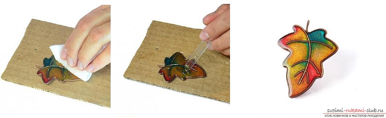 How to make a brooch made of polymer clay in the form of an oak leaf, step-by-step photos and job description. Photo №8
