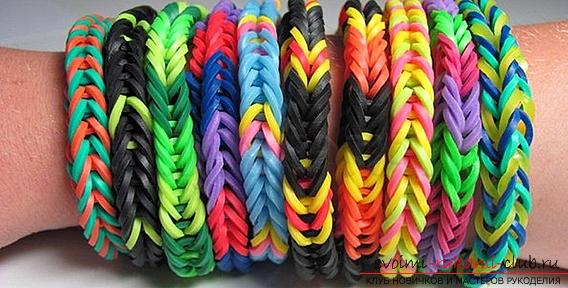 Kinds of bright bracelets of rubber for weaving their own hands with photos and descriptions. Photo №4