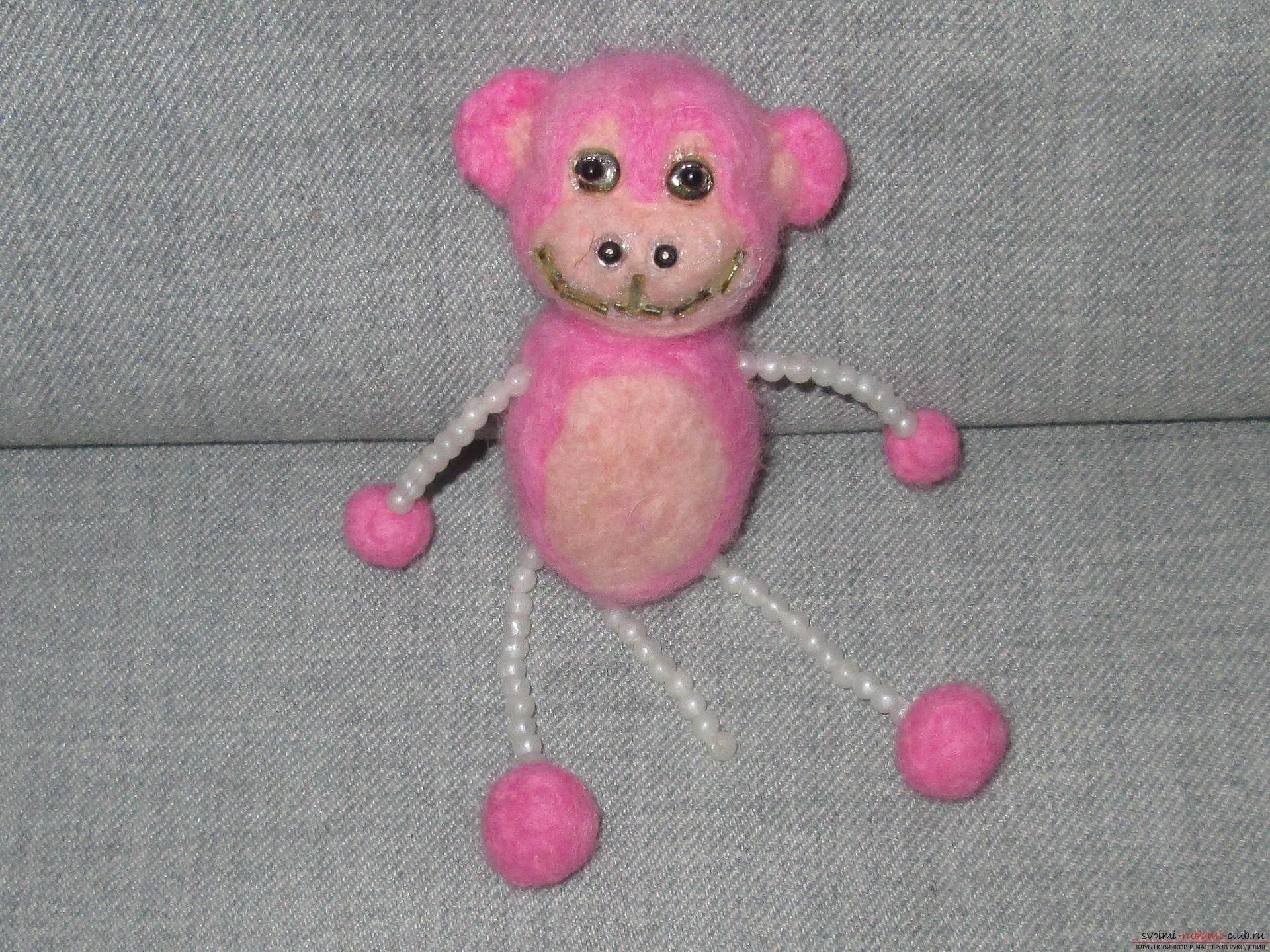 This master class felting out of wool will help make a toy monkey with your own hands. Photo №25