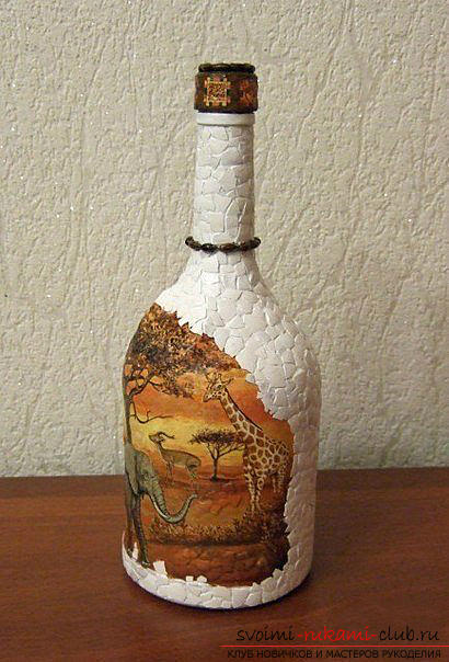 Decoupage bottles in the African style, crafts fromshells, how to make a mosaic of the shell with their own hands, a mosaic made of eggshell on a glass bottle, a detailed master class on decorating bottles in an African style .. Photo # 25