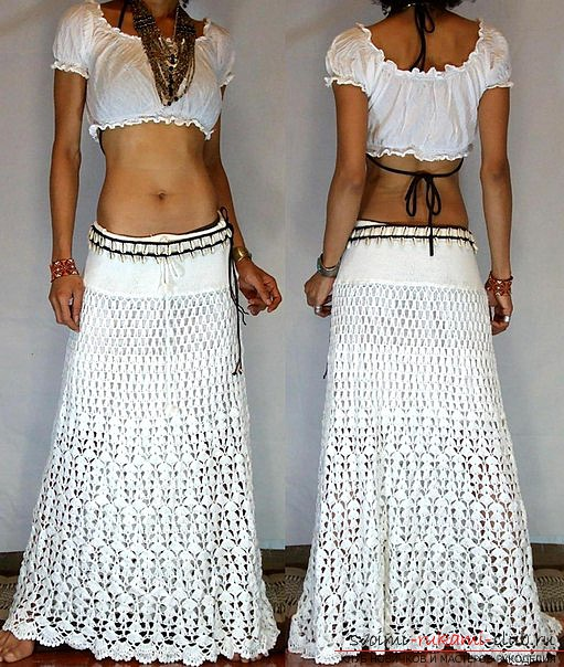 Ornate white skirt crocheted. Photo №5