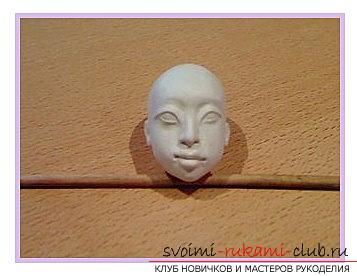 The shape of the face for a doll of polymer clay with their own hands is a master class. Photo №7