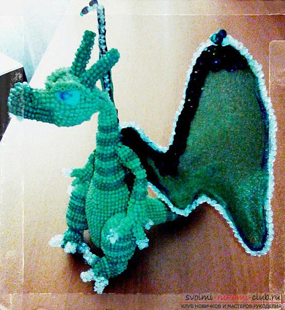Green dragon from beads. Photo №1