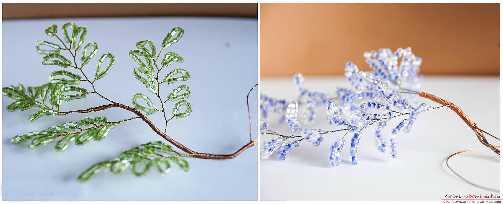 Free master classes on creating wisteria from beads, tips and advice on making blossoming brushes and decorating the trunk. step-by-step photos .. Picture # 4