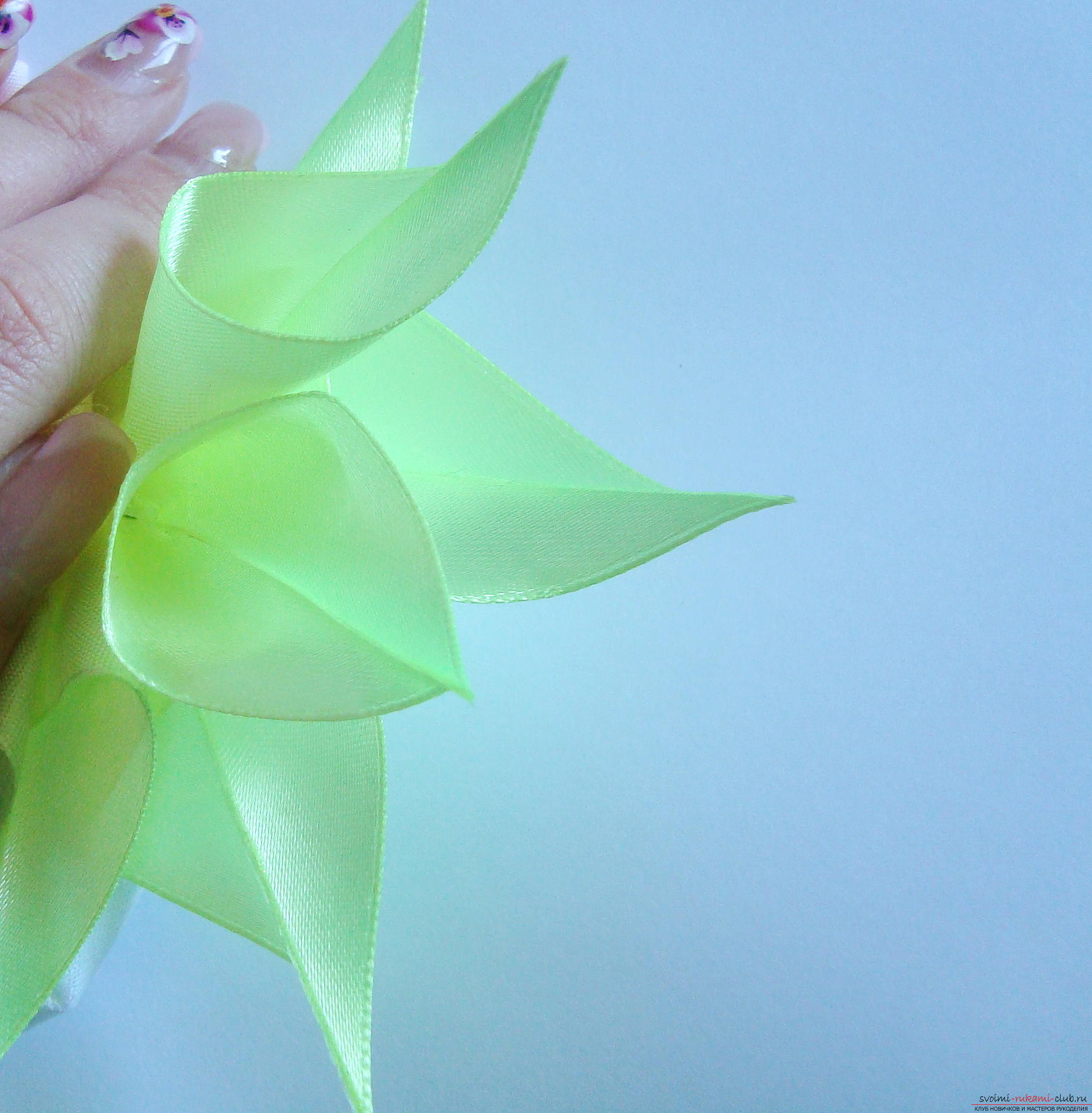 Liliai Kanzashi from the ribbons - we master ourselves. Photo №7
