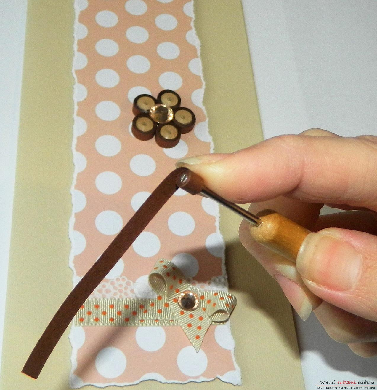 This master class will teach you how to make a postcard with your own hands in quilling technique .. Photo # 20