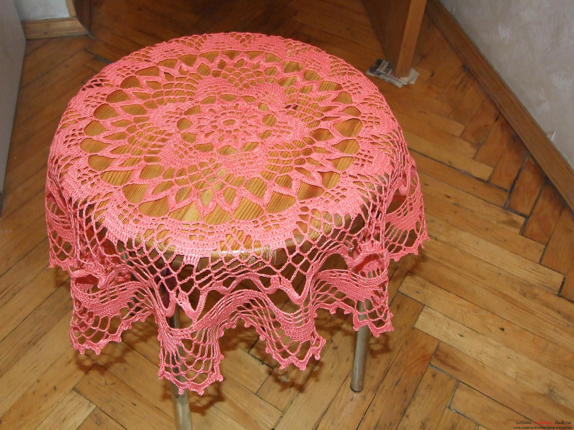 Bright coral tablecloth. Photo # 2