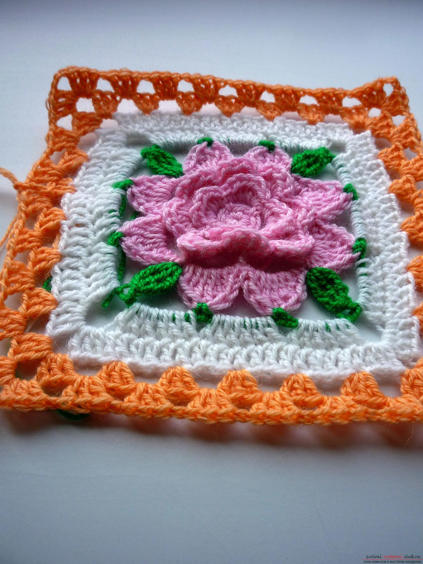 This master class of crocheting contains a crochet flower scheme for a plaid .. Photo # 23