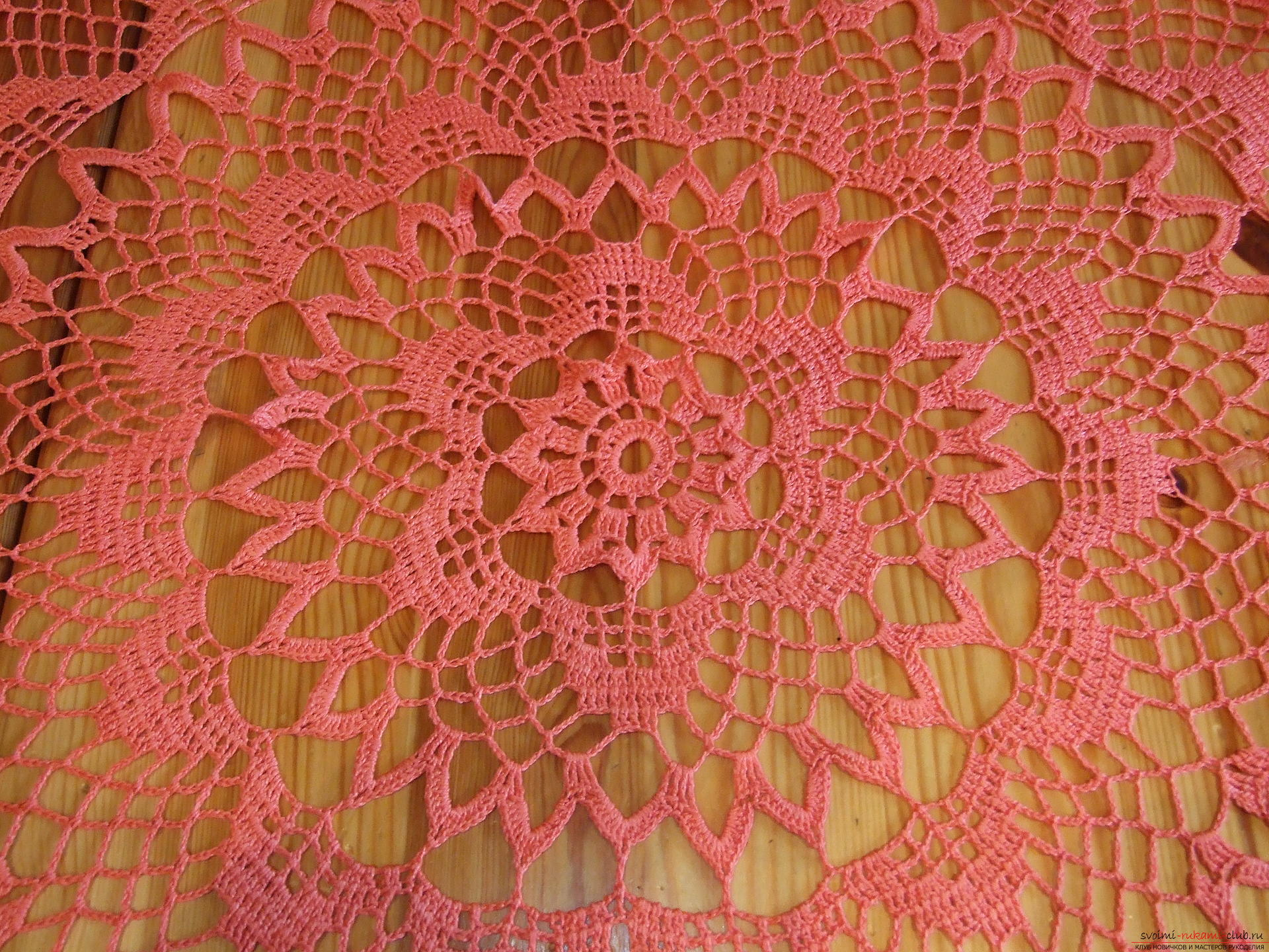 Bright coral tablecloth. Picture №3