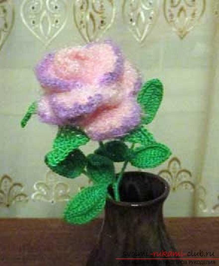 Schemes and a detailed description of how to connect a three-dimensional rose crochet with your hands .. Photo # 8