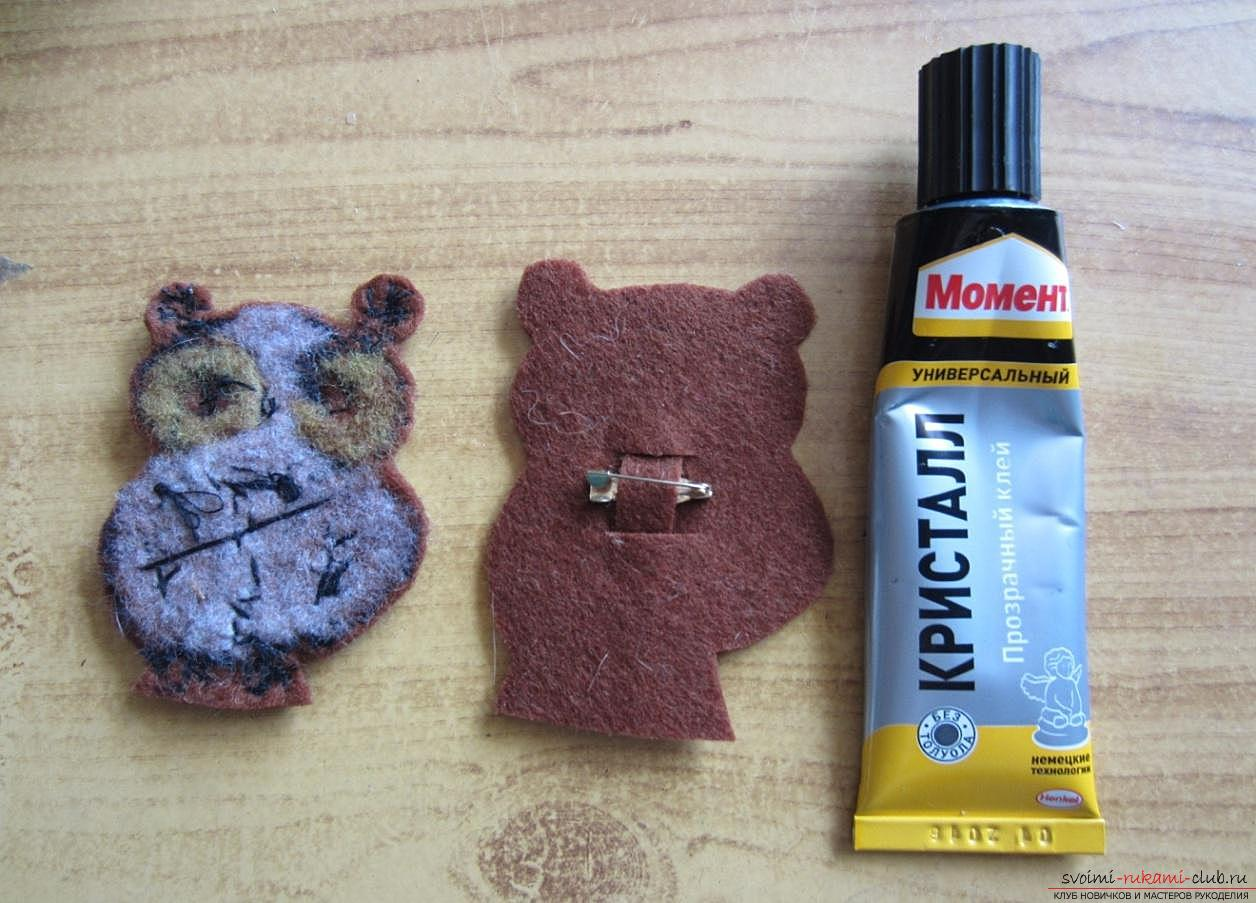 Master-class for making brooches from felt, wool, metal zippers and glue. Photo number 17