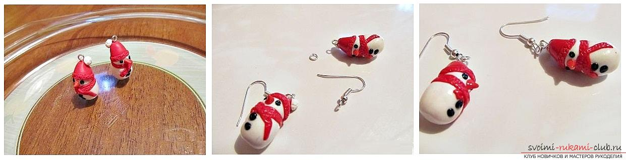 How to make earrings from polymer clay in the form of snowmen, a detailed master class with a photo and description. Photo №6