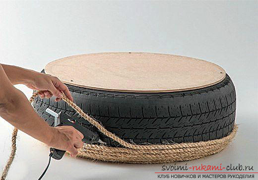 Unusual interior items with your own hands, a table from an old tire, tips and advice on how to make it .. Photo # 3
