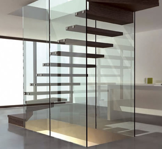 glass and wood - floating staircase