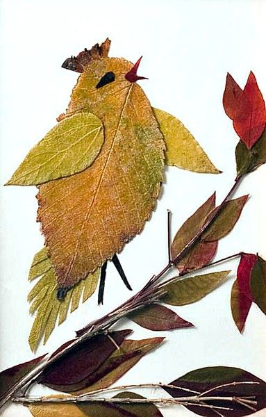 Photo ideas of children's crafts birdies from paper leaves of improvised materials with their own hands for home school and kindergarten