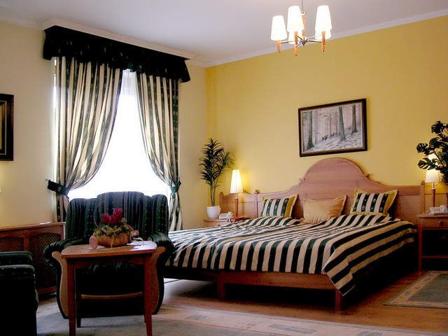 Curtains in the bedroom interior