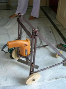Homemade lawnmower of a drill.