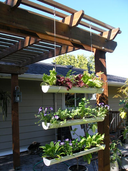 How to make a hanging garden from a gutter with your own hands