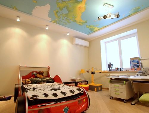 geographical map of the world on the ceiling
