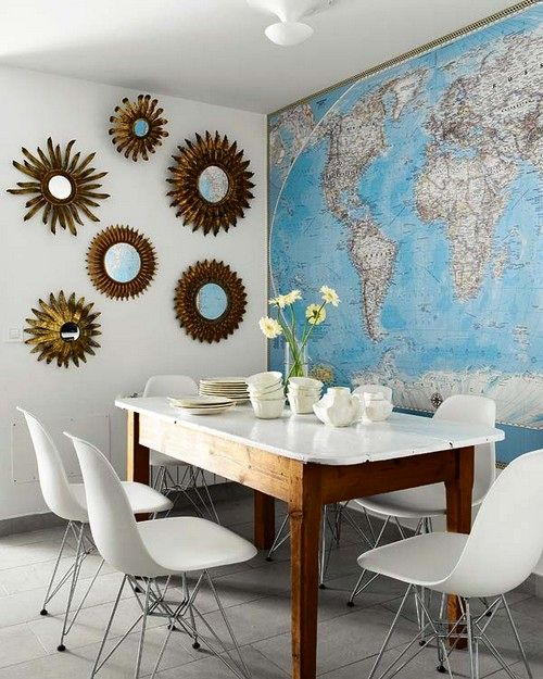 geographic maps in the interior as wallpaper