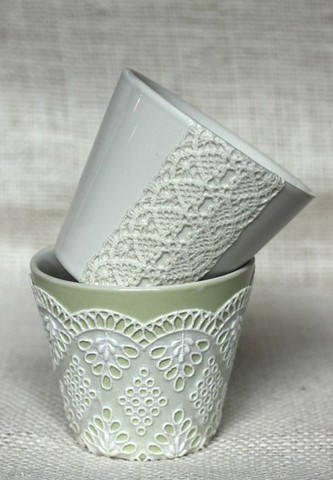 Flower pot decorated with lace fabric