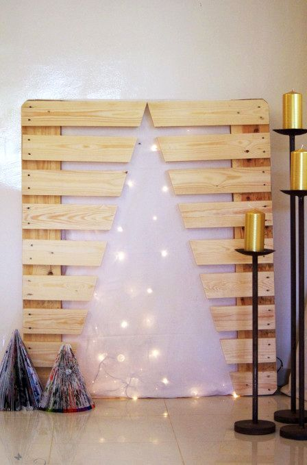 New Year artificial tree from a pallet